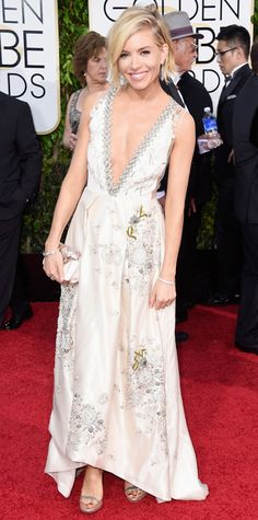 Golden Globes 2015: Red Carpet Arrivals - Sienna Miller in Miu Miu and Tiffany & Co. jewelry  #InStyle