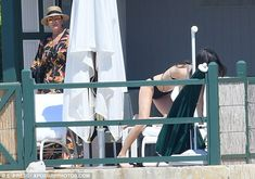 Family affair: Kendall was at the resort with her mum Kris, who joined her daughter out on the terrace