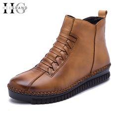 3ee865f6021d Echtem Leder Plattform Frauen Stiefel Herbst Winter Stiefeletten Creepers  Beiläufige Schuhe Frau Beleg Auf Frauen Wohnungen Schuhe XWX4355