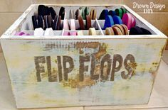 Need a flip flops storage solution? Make your own Flip Flop Bin that holds 20 pairs of flip flops and is painted, distressed and has rope handles to give it a beachy style. Flip Flop Storage, Flipflops, Make Your Own, How To Make, Wooden Boxes, Flipping, Storage Solutions, Diy Design, Toy Chest