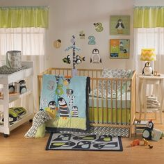Bright colors, modern designs and adorable penguins! What more could a nursery ask for? #nursery #penguins #newborn