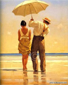 Jack Vettriano - the more art I pin, the more I realize I have a thing for umbrellas, lol!