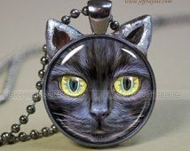 Black Cat Magic pendant // Halloween necklace resin pendant // black cat jewelry // Halloween Black Cat Picture Pendant // Gifts // BLK10