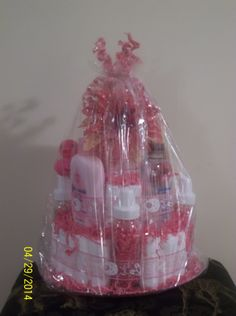 Girl diaper cake with flowers and spiral decorations