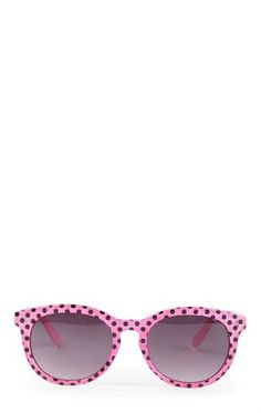 Deb Shops Plastic Frame Sunglasses with Polka Dot Print $6.00