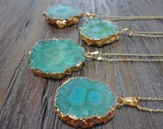 Druzy Gold Pendant Necklace/Amorite Chalcedony by AprilSueDesigns