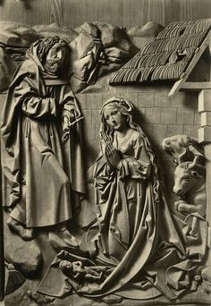 Birth of Jesus, The Marian Altarpiece by Tilman Riemenschneider (1460-1531), Church of God, Creglingen, Germany....I've seen his work in Rothenburg O de Tauber
