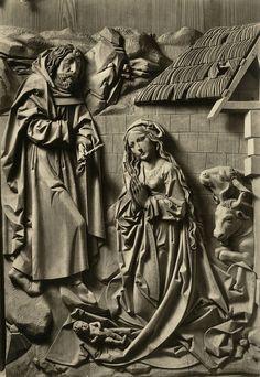 Birth of Jesus, The Marian Altarpiece by Tilman Riemenschneider (1460-1531), Church of God, Creglingen, Germany