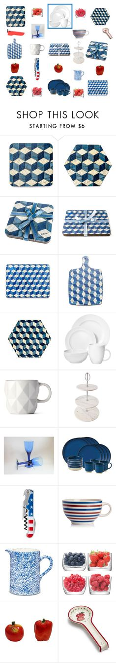 """""""Blue and White kitchen dining ware"""" by einder ❤ liked on Polyvore featuring interior, interiors, interior design, home, home decor, interior decorating, Royal Doulton, Sabichi, Tory Burch and LSA International"""