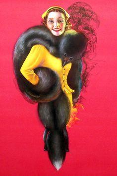 Vintage Art Deco Billy Devorss Pin-up Print Streamlined Vixen in Fur Stole Vintage Fur, Vintage Prints, Vintage Ladies, Kansas City Art Institute, Pin Up Posters, Fur Stole, Brunette Beauty, Pin Up Art, Old Art