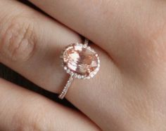 Bague de fiançailles saphir pêche 14k or Rose diamant bague 3,25 ct pêche saphirs