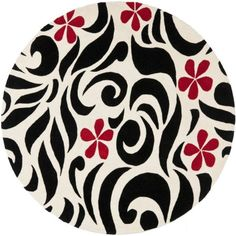 Safavieh Soho Kate Wool Round Area Rug, Ivory/Black, 6', White