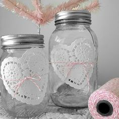 valentines day jars with heart doilies wrapped in bakers twine