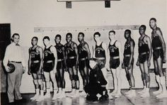 ... look carefully you can figure out which member of this 1955 basketball  team at Overbrook high school in Philly is legendary NBA center Wilt  Chamberlain. 8a5c24191