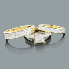 Cheap Wedding Ring Sets: This 10K Gold Diamond Trio Set consists of a women's pre-set diamond engagement ring and two matching diamond wedding bands (one for him and one for her). This fabulous diamond bridal ring set showcases 0.58 carats of round diamonds, features a highly polished gold finish, and is available in 14K white, yellow and rose gold.