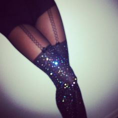 cosmic. crystalized black tights with built-in garter