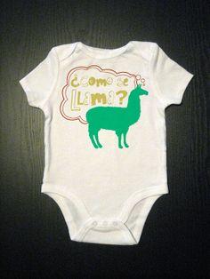 Como Se Llama  Funny Baby Onesie  Funny by VicariousClothing, $15.00