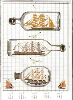 point de croix grille et couleurs de fils bouteilles avec bateaux dedans