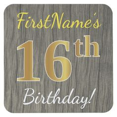 Faux Wood Faux Gold 16th Birthday  Custom Name Square Paper Coaster - birthday gifts party celebration custom gift ideas diy