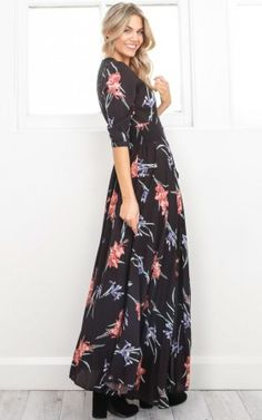 Lone Traveller maxi dress in black tropical floral