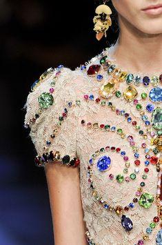 Dolce & Gabbana Spring 2012 - Amazing colored fancy stones!  www.harmanbeads.com