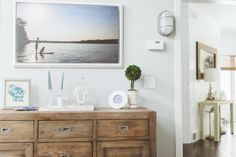 Rustic chest of drawers and contempory decorations