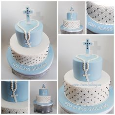 Communion Cake for a boy! Love the different design to this one. Taking the inspiration from the design and using the impression mold to create it.