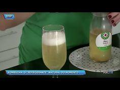 Conheça kombucha, o refrigerante natural que está virando tendência no Brasil - YouTube Kombucha, Kefir, Hurricane Glass, Glass Of Milk, Drinks, Natural, Tableware, Youtube, Food