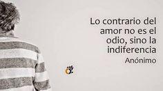Lo contrario del amor no es el odio, sino la indiferencia. #frases