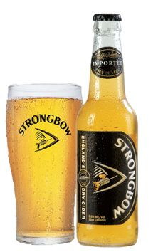 "Strongbow hard cider isn't too sweet, like Woodchuck and has a dry, crispness that goes great with food or by itself. not at all cloying--which, trust me, is a major compliment in a house where ""cloying"" is a common term of criticism ;)"