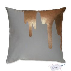 copper splash - on light grey   throw pillow   toss pillow   decorative pillow   cushion cover   icecream drips