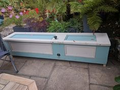 Garden storage bench- made from Victorian doors