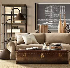 love the steamer trunk coffee table