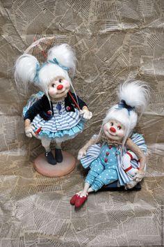 Купить Соня и Тоня - клоуны, клоунесса, в детскую, морская тема, куклы, коллекционная кукла