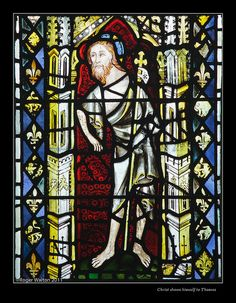Detail from North Aisle Window - St Denys, York - C14th: The Risen  Christ shows himself to St Thomas.