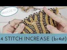 4 Stitch Increase in Brioche Knitting Knitting Videos, Crochet Videos, Knitting For Beginners, Loom Knitting, Knitting Stitches, Knitting Patterns, Knitting Designs, Knitting Increase, Double Knitting