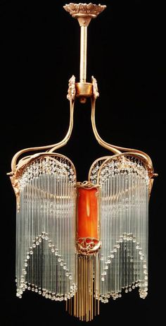 Hector Guimard Pair Of Art Nouveau Gilt Bronze And Glass Chandeliers