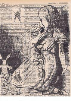 Alice in Wonderland Antique Book Page