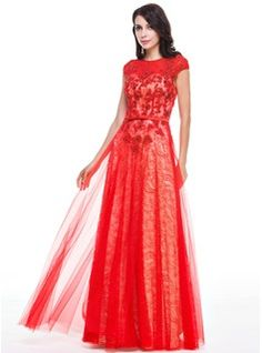 A-Line/Princess Scoop Neck Floor-Length Tulle Charmeuse Lace Evening Dress With Beading Sequins Bow(s) (017056508) - JJsHouse
