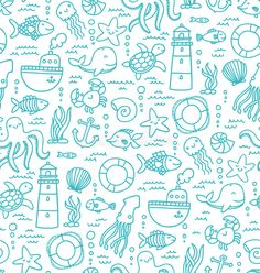 ocean doodle: Seamless pattern with sea creatures doodles and nautical stuff Doodle Drawings, Easy Drawings, Doodle Art, Sea Creatures Drawing, Creature Drawings, Sea Drawing, Bullet Journal Themes, Simple Doodles, Doodle Patterns