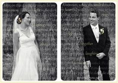 My husband and I wrote our own vows then discovered we weren't allowed to say them. We had to say a choice of 3 given to us by the church. They were so beautiful I didn't want them to go to waste so I had my photographer (Proof of Life Photography - Chelsea Templeton) create this for us. I think it's a great way to remind yourself everyday of why you love each other in the first place. Plus it will look amazing on the wall! #wedding #photography #yellow #vows