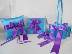 Wedding Accessories Turquoise Purple Flower Girl basket Ring Pillow Guest Book Pen Your Colors via Etsy~ Flower Girl Halo, Purple Flower Girls, Flower Girl Basket, Purple Flowers, Flower Baskets, Purple Bouquets, White Flowers, Purple Wedding, Wedding Colors