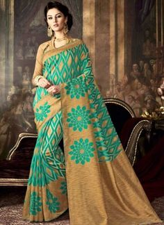 Turquoise Cream Printed Silk Designer Fancy Party Wear Sarees http://www.angelnx.com/Sarees/Designer-Sarees
