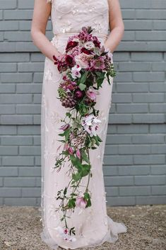 cascading wedding bouquets long lilac with orchids debbie lourens photography wedding bouquets 45 Gorgeous Cascading Wedding Bouquets Bouquet En Cascade, Trailing Bouquet, Cascading Wedding Bouquets, Diy Wedding Bouquet, Diy Wedding Flowers, Wedding Flower Arrangements, Bride Bouquets, Bridal Flowers, Floral Wedding