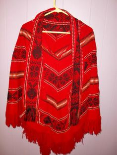Vintage Southwestern Aztec Red Western Cowgirl Women's Cape Poncho Size Large M | eBay
