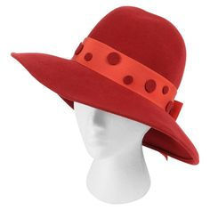 PIERRE CARDIN c.1960's Red Wool Felt Polkadot Bow Wide Brim Mod Fedora Hat | From a collection of rare vintage hats at https://www.1stdibs.com/fashion/accessories/hats/