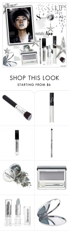 """""""Shine on: Metallic Lips"""" by mcheffer ❤ liked on Polyvore featuring beauty, NARS Cosmetics, Silver Lining, Anastasia Beverly Hills, Clinique, Miss Selfridge and metalliclips"""