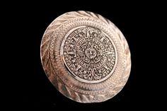 Aztec Silver Mayan Calendar Pendant Brooch - Mexico 925 (Vintage, Ethnic, Tribal, Unique) by JaguarIsle, $55.00