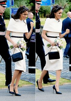 """princeh3nry: """"The Duchess of Sussex wearing Givenchy during a visit to Cheshire, where she accompanied the Queen marking her first appearance without her Duke """""""