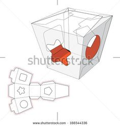 Candy Box with Display with Blueprint  - stock vector